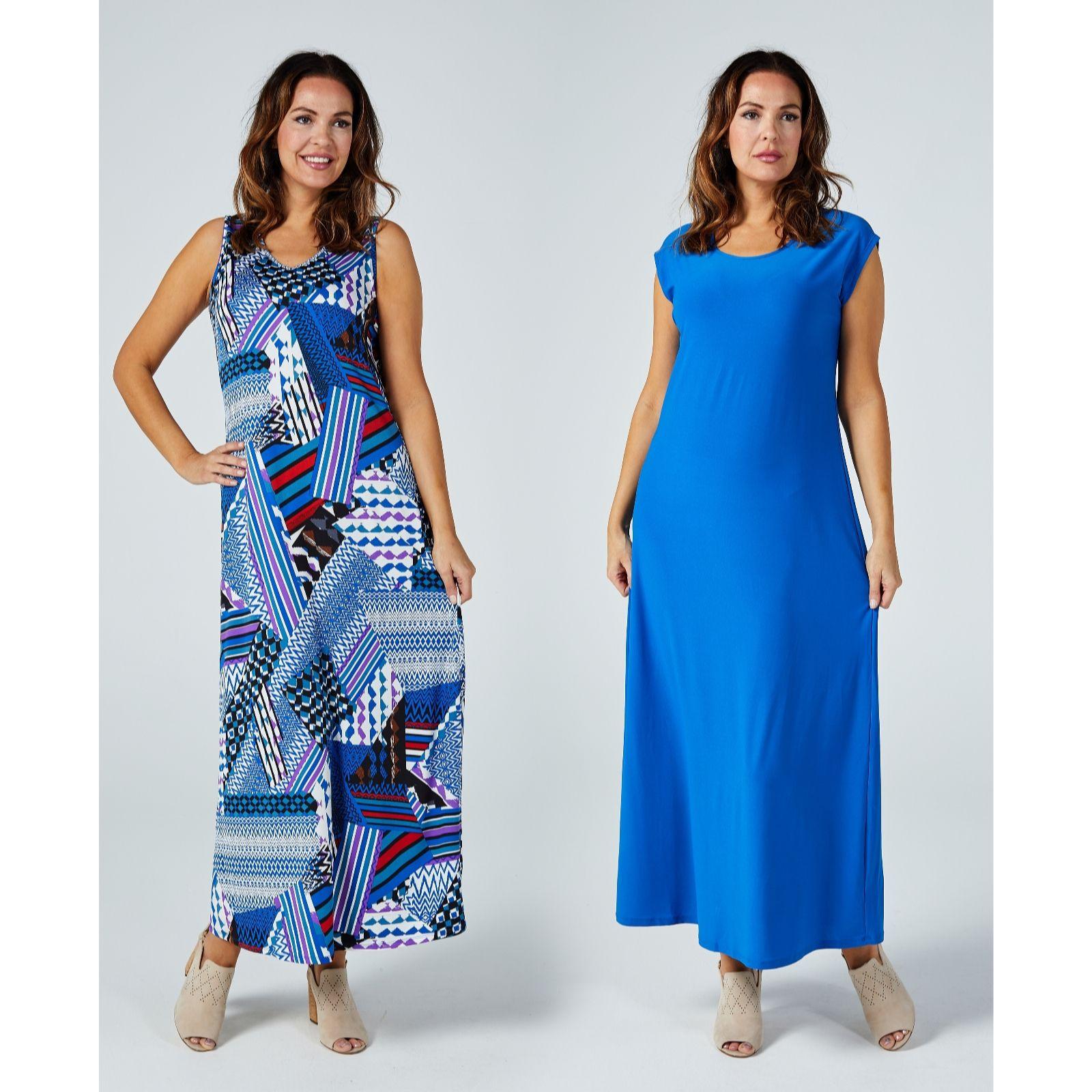 3d9ed6bee74 Antthony Designs Pack of 2 Print   Plain Sleeveless Dresses - QVC UK