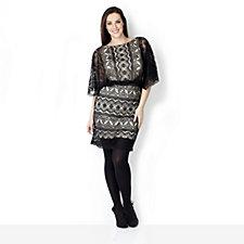 Outlet Philip Montello Lace Blouson Dress with Scalop Hem