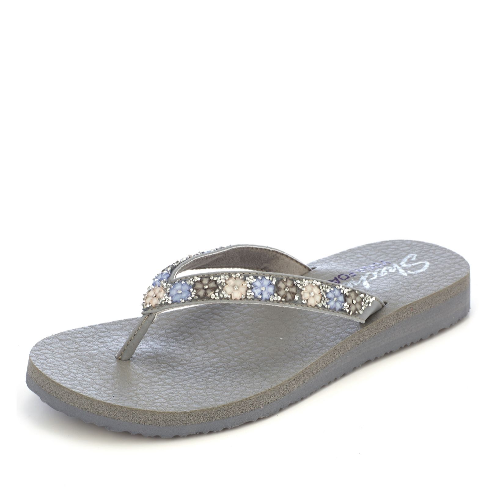 c7c86c18ba17 Skechers Meditation Daisy Delight Flower   Rhinestone Sandal with Yoga Foam  - QVC UK