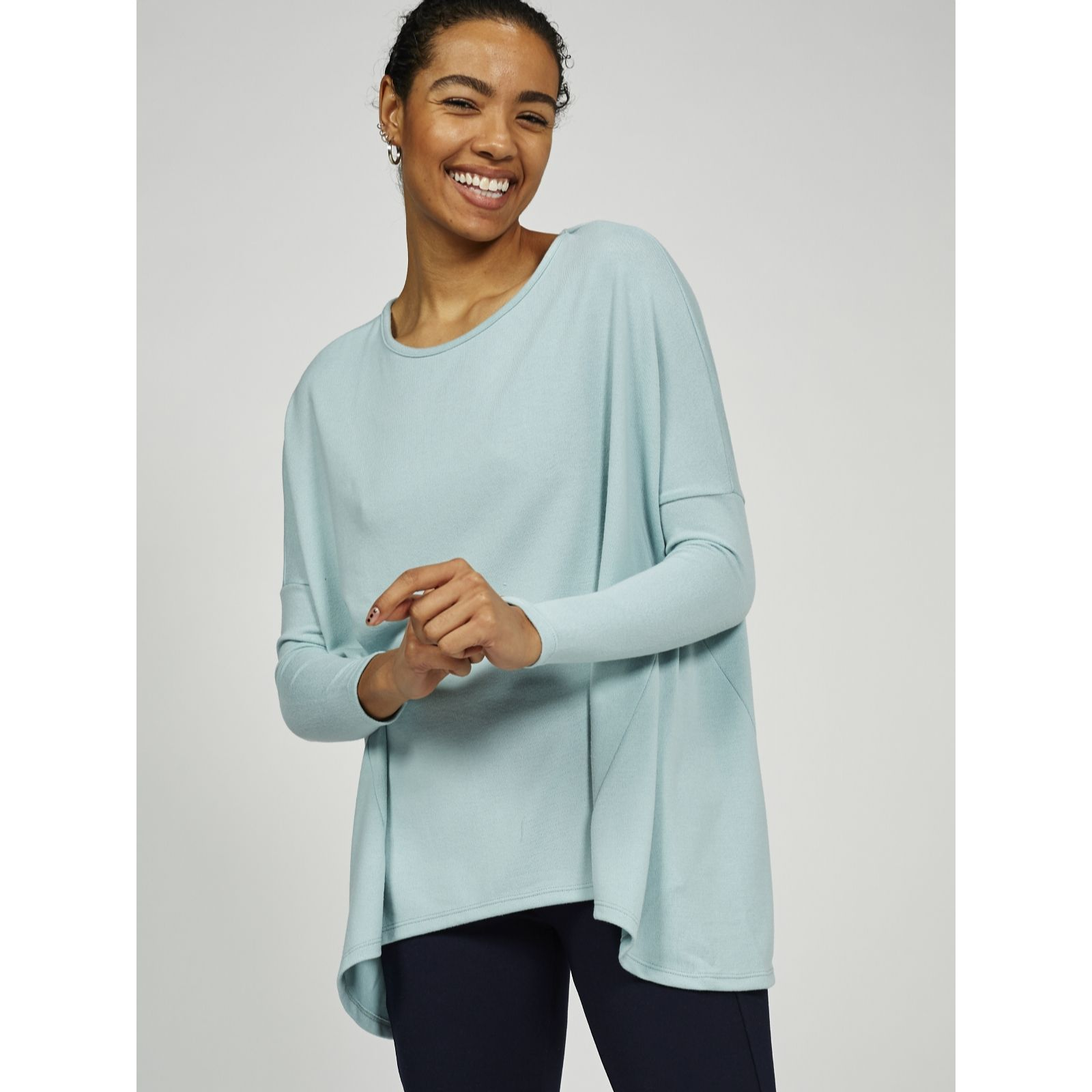 d7ca399f82bda Kim   Co Soft Touch Long Sleeve Godet Insert Tunic - QVC UK