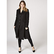 Centigrade Wool Twill Long Line Button Through Coat