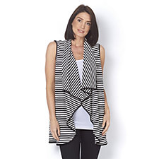 Attitudes by Renee Striped Rib Sleeveless Duster