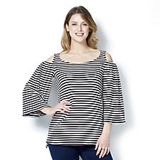 Attitudes by Renee Striped Rib Cold Shoulder Tunic