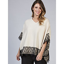 Nick Verroes Lightweight Knit Poncho with Lace Trim Detail