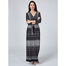 Attitudes by Renee 3/4 Sleeve Jersey Faux Wrap Regular Maxi Dress