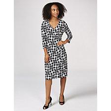 Kim & Co Brazil Jersey 3/4 Sleeve Faux Wrap Dress