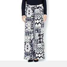 Printed Petite Palazzo Trousers with Elasticated Back Waist by Nina Leonard