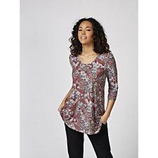 Kim & Co Brushed Venechia Printed 3/4 Sleeve V Neck Tunic