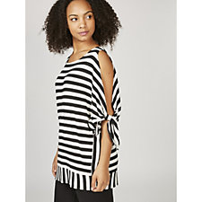 Striped Open Sleeve Top with Tie Cuff Detail by Nina Leonard