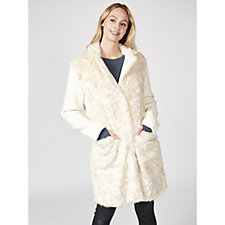 Rino & Pelle Textured Faux Fur Panel Coat