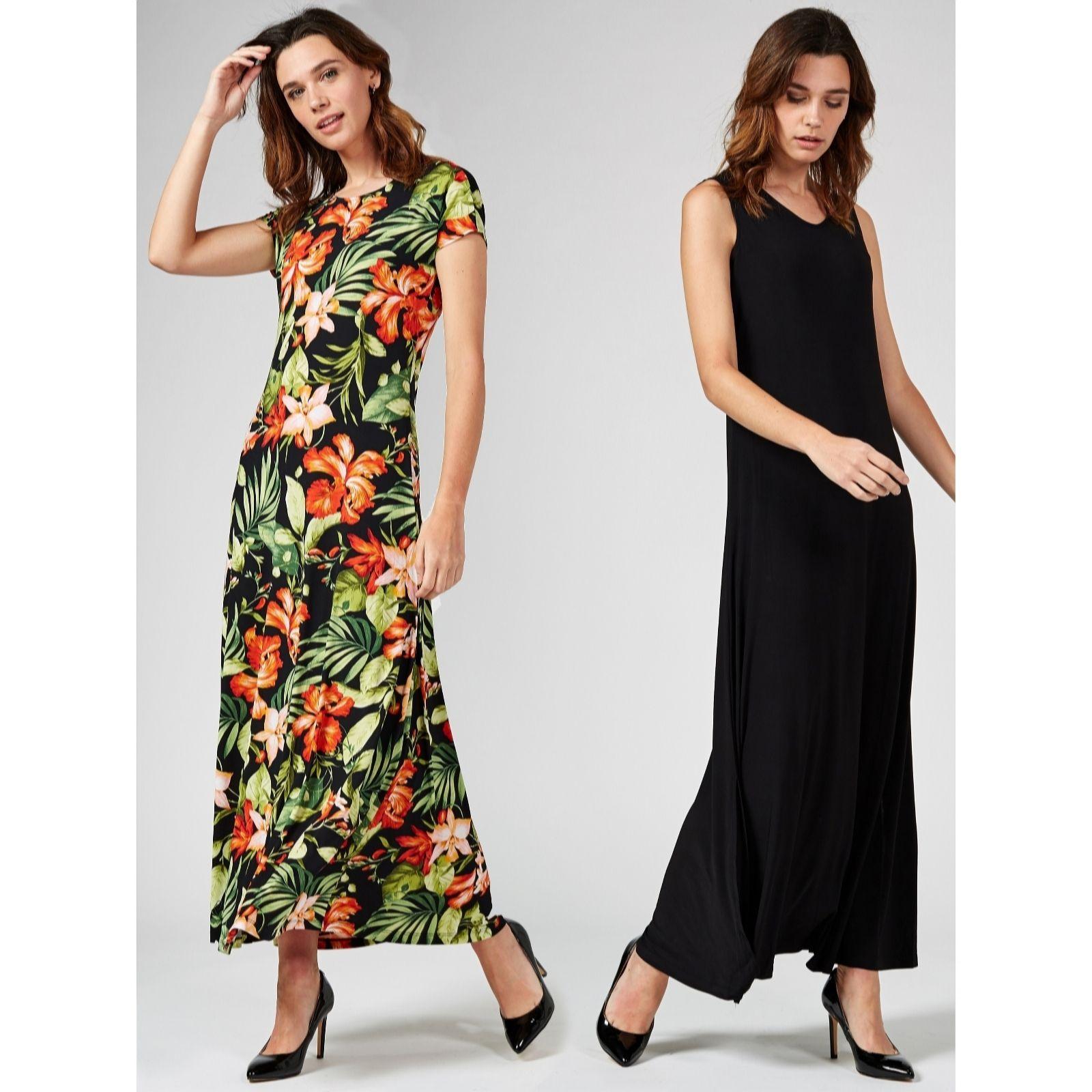 8d01311d6759 Attitudes by Renee Set of Two Print and Plain Maxi Dresses Petite ...