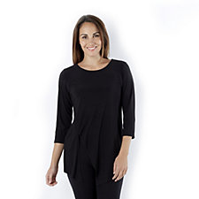 Attitudes by Renee 3/4 Sleeves Jersey Tunic Asymmetric Hem