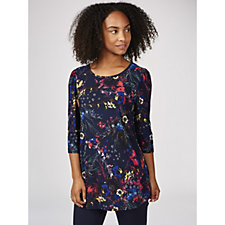 Kim & Co Printed Brushed Venechia 3/4 Sleeve Swing Tunic