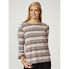 Together Fluted Sleeves Striped Top