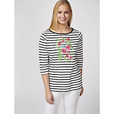 Quacker Factory Tropical Floral Striped Boat Neck T Shirt