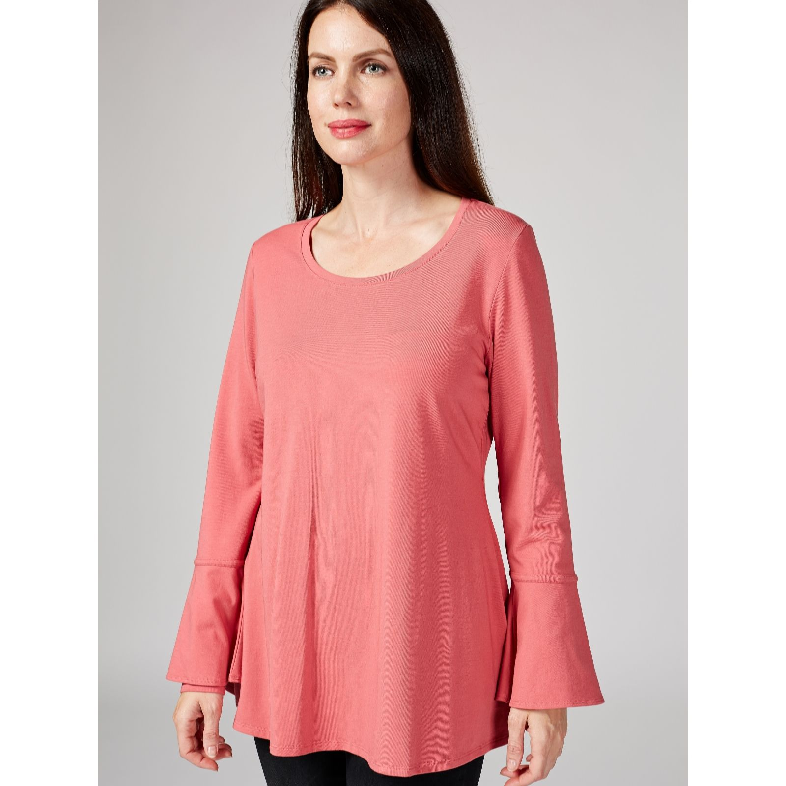 1b9dc993a17 Isaac Mizrahi Live Scoop Neck Trapeze Top with Fluted Sleeves ...