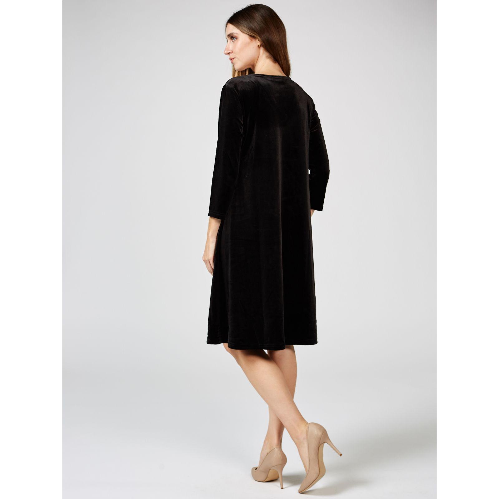 3f8099d5bd9 Velvet Trapeze Dress by Nina Leonard - QVC UK