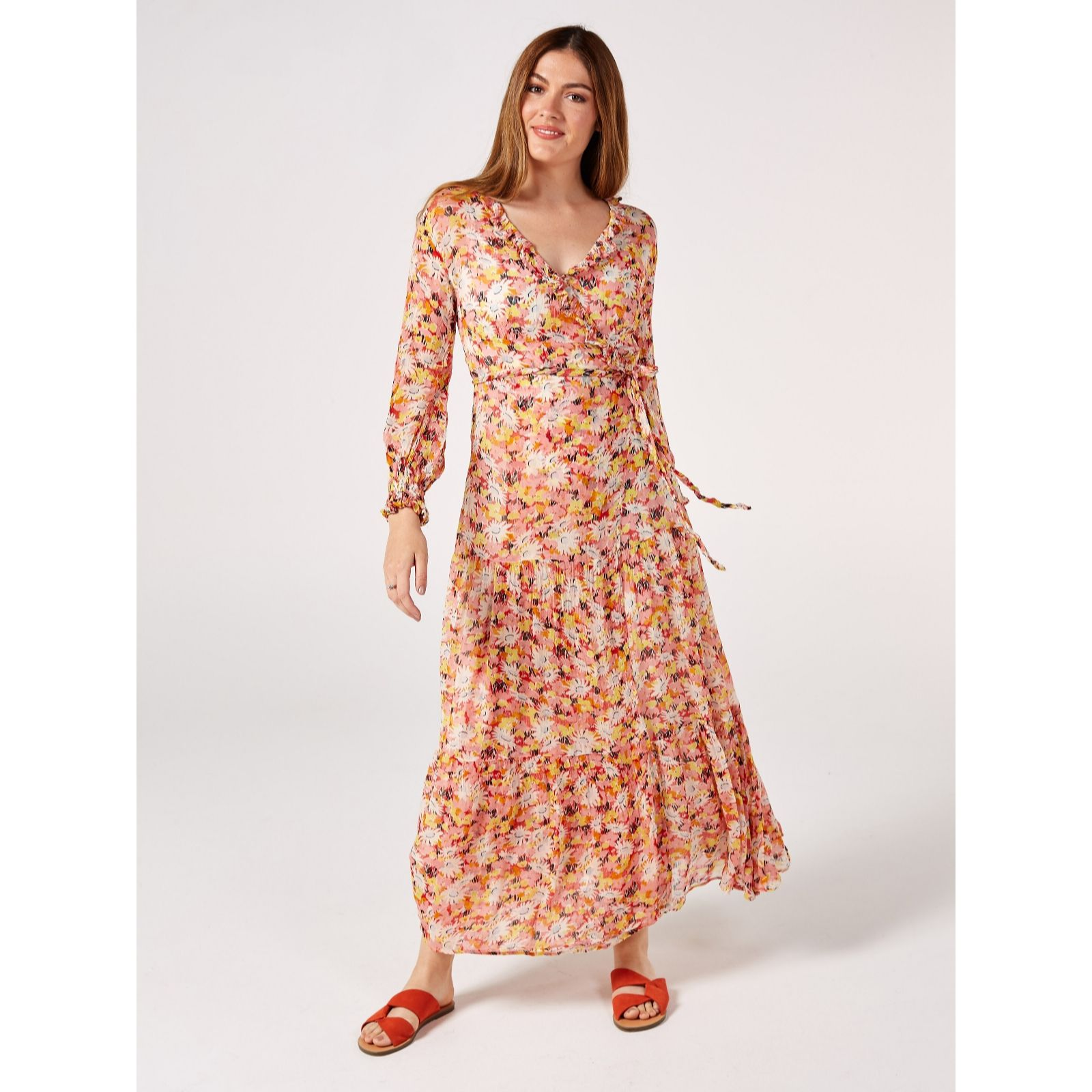 d02f2074b05a Ghost London Jasmine Retro Floral Long Sleeve Dress - QVC UK