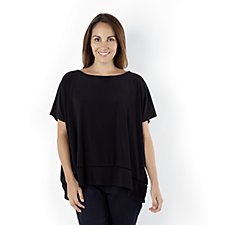 Attitudes by Renee Relaxed Fit Top V Back Lattice Hem