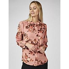 Denim & Co. Floral Printed Tie Neck Blouse
