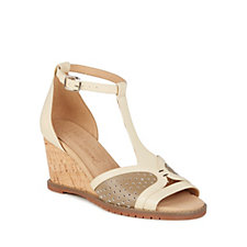 Emu Ida Leather T-Bar Wedge Sandal with Ankle Strap