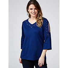 Quacker Factory Pearls & Shine Open Shoulder Flared Sleeve T Shirt