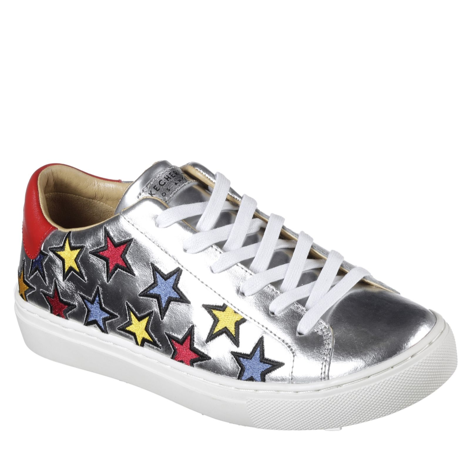 b8f58fe9955 Skechers Street Star Side Embroidery Leather Lace Up Trainer - QVC ...