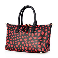 Lulu Guinness Small Frances Lip Print Leather Tote Bag with Detachable Strap