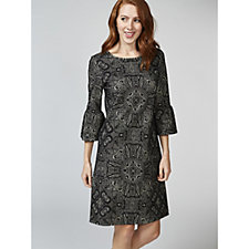 Betty & Co Bell Sleeve Flocked Dress