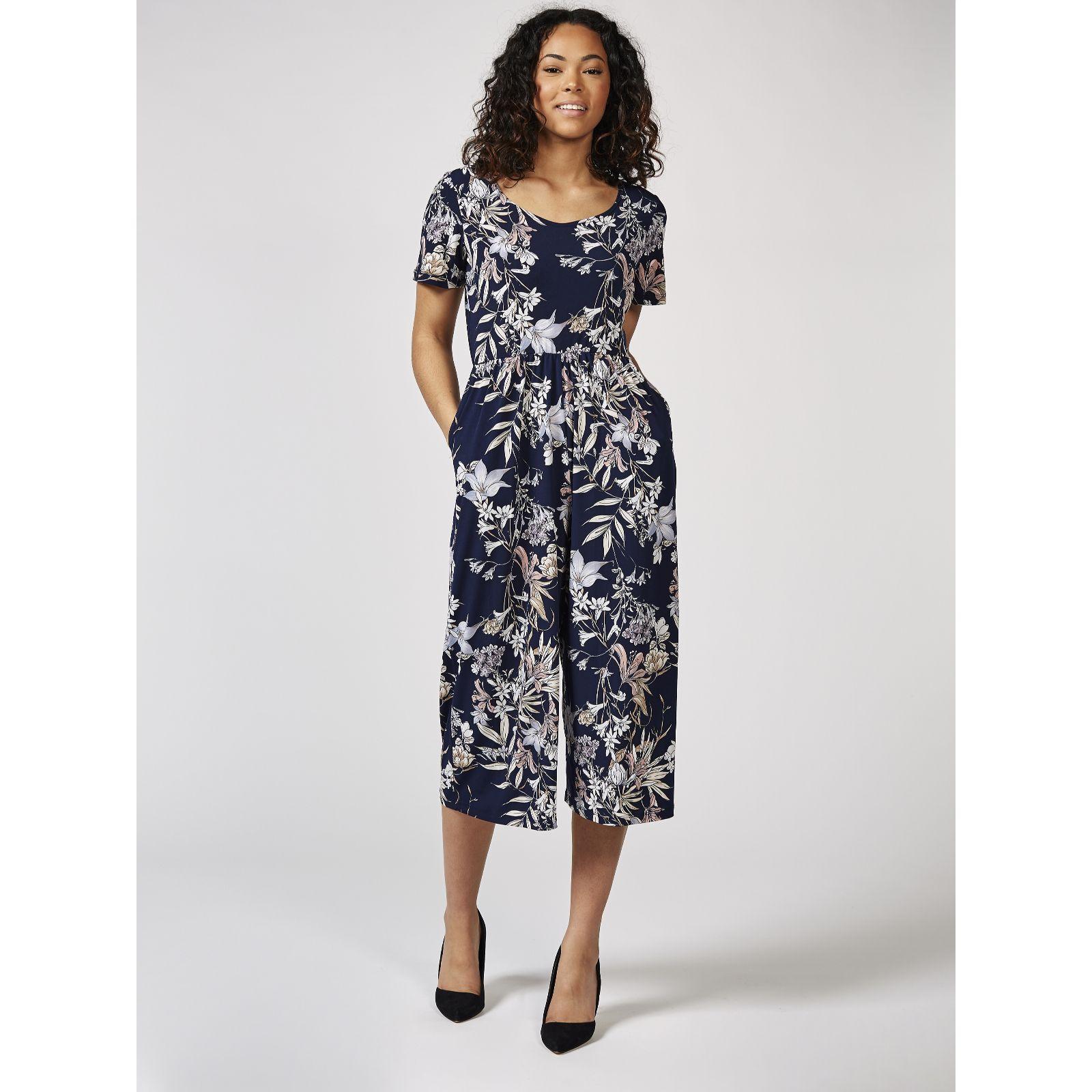 45647918165 Kim   Co Brazil Jersey Printed Angel Sleeve Culotte Jumpsuit - QVC UK