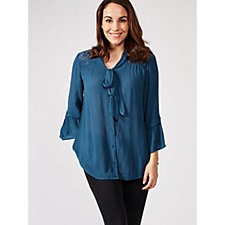 Together Tie Neckline Button Front Blouse with Fluted Sleeves