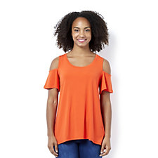 H by Halston Jersey Cold Shoulder Top