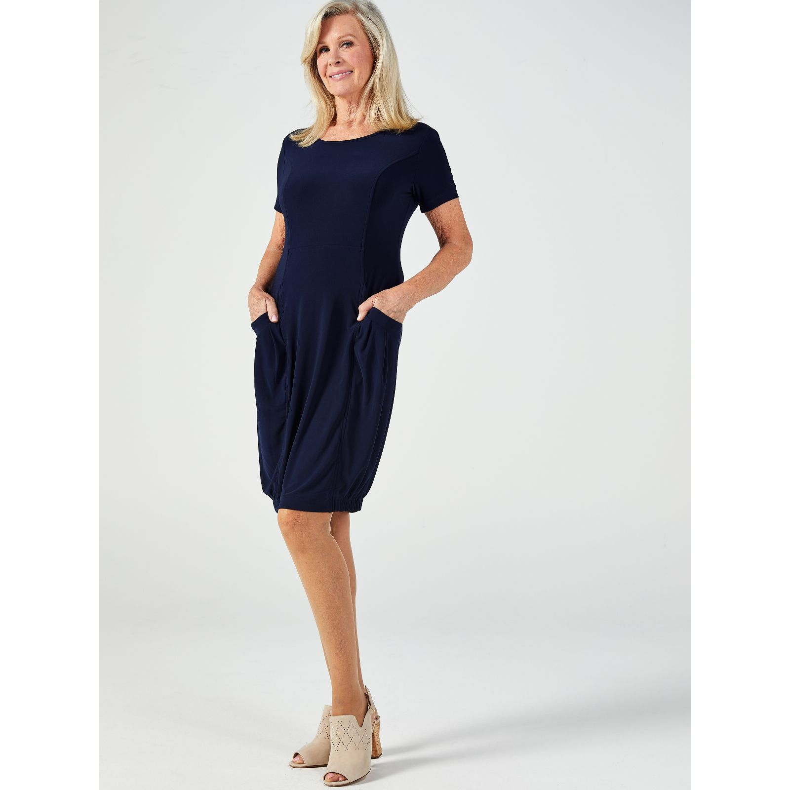 4a8b9501588 Short Sleeve Dress with Elasticated Hem   Front Pockets by Nina Leonard -  QVC UK