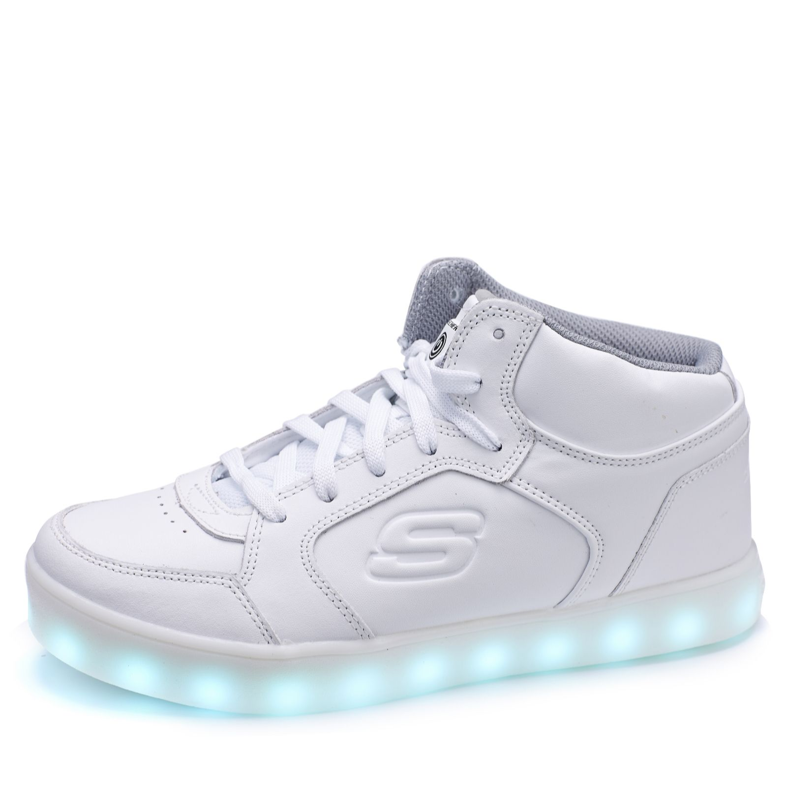 on feet images of attractive & durable discover latest trends Skechers Kid's Energy Lights Mid Top Lace Up Trainer with Hidden Lights -  QVC UK