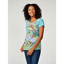 Artscapes Mosaic Cap Sleeve Scoop Neck Top
