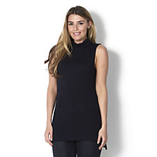 H by Halston Essentials Roll Neck Top with Hi Low Hem