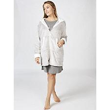 Cuddl Duds Hooded Zip Robe with Sherpa Trim