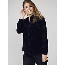 Denim & Co. Crushed Velvet Woven Shirt