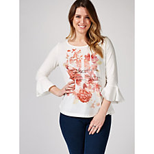 Together Placement Print Bell Sleeve Top