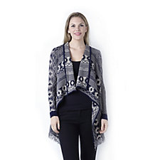 Absolutely Famous Aztec Jacquard Cascade Front Cardigan