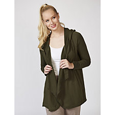 Cuddl Duds Comfortwear Edge To Edge Hooded Wrap Cardigan