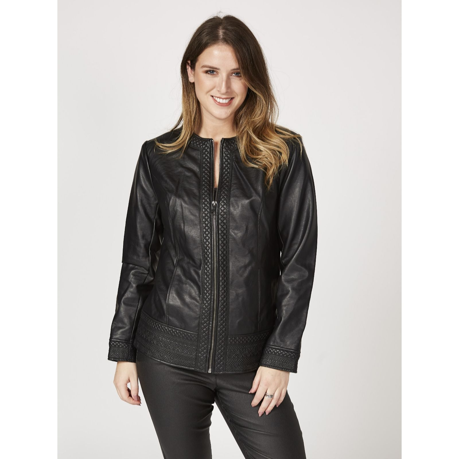 d5f3729a11980 Denim   Co. Faux Leather Jacket with Embroidery Trim - QVC UK
