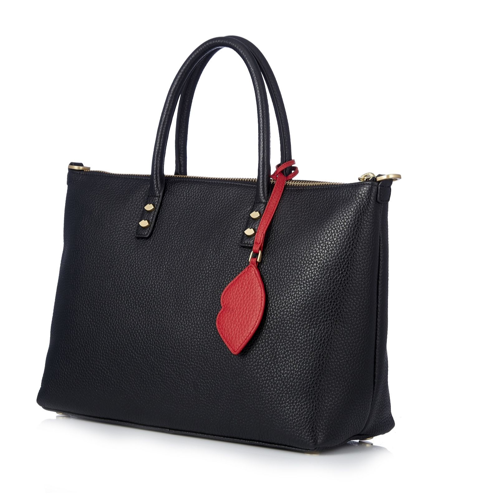 Lulu Guinness Frances Medium Lip Zip Leather Tote Bag With Detachable Strap Qvc Uk