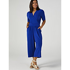 Kim & Co Brazil Knit Elbow Sleeve Gaucho Jumpsuit