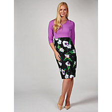 Ruth Langsford 3/4 Length Sleeve Dress with Floral Skirt