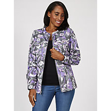 Denim & Co. Watercolour Print Stretch Twill Zip Front Jacket