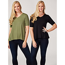 H by Halston Essentials Pack of 2 Elbow Sleeve V Neck Tops