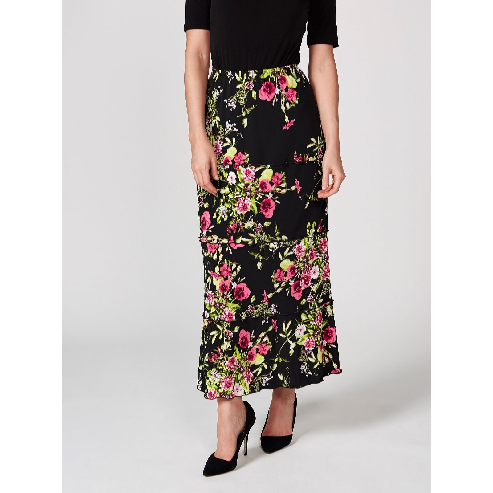 d8ffad97f2 Kim & Co Country Bouquet Brazil Jersey Tiered Maxi Skirt - QVC UK