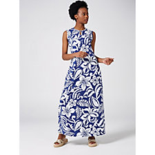 Denim & Co. Printed Jersey Maxi Dress with Keyhole Neckline