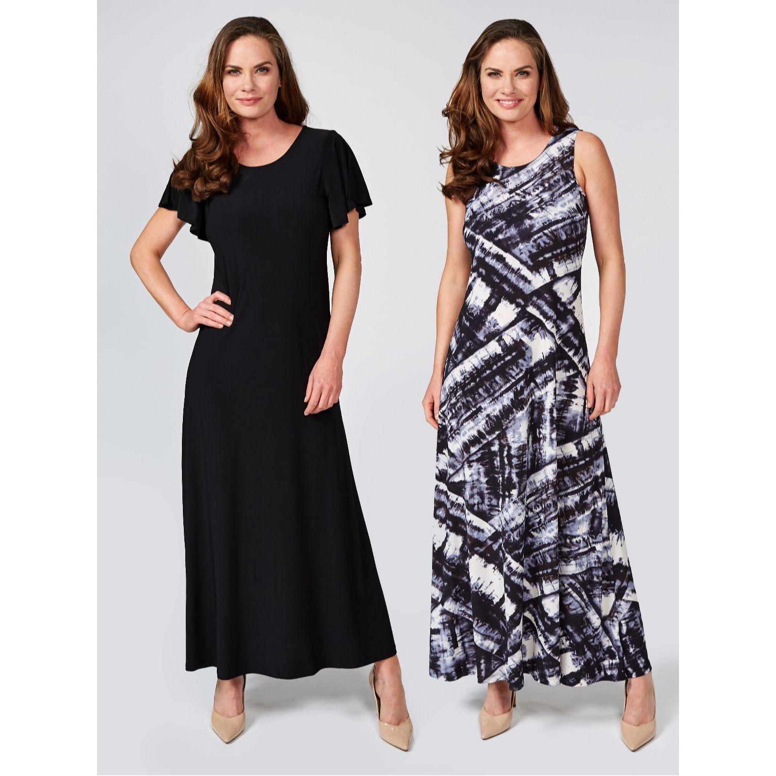 58a29e56c17 Attitudes by Renee Print   Plain Pack of 2 Maxi Dresses Petite Length - QVC  UK